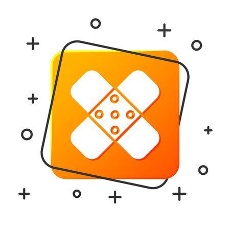 White Crossed bandage plaster icon isolated on white background. Medical plaster, adhesive bandage, flexible fabric bandage. Orange square button. Vector Illustration Illustration