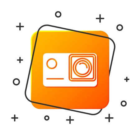 White Action extreme camera icon isolated on white background. Video camera equipment for filming extreme sports. Orange square button. Vector Illustration Иллюстрация