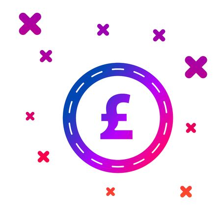 Color Coin money with pound sterling symbol icon isolated on white background. Banking currency sign. Cash symbol. Gradient random dynamic shapes. Vector Illustration