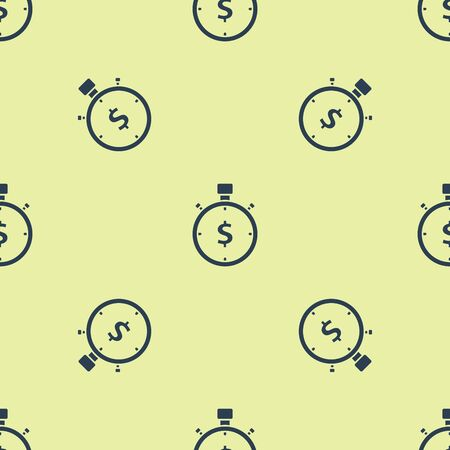 Blue Time is money icon isolated seamless pattern on white background. Money is time. Effective time management. Convert time to money. Stopwatch sign. Vector Illustration