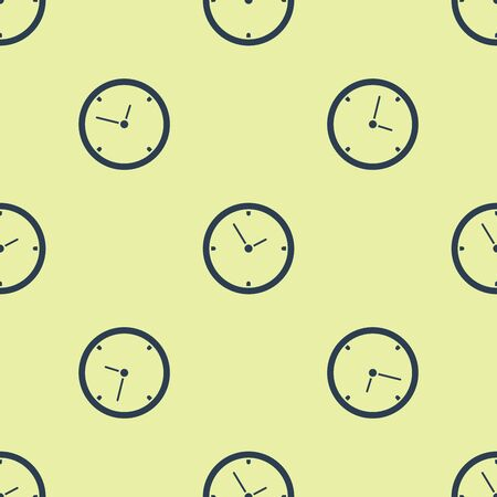 Blue Clock icon isolated seamless pattern on white background. Time symbol. Vector Illustration