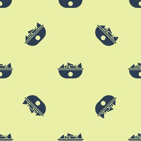 Blue Nachos in plate icon isolated seamless pattern on white background. Tortilla chips or nachos tortillas. Traditional mexican fast food menu. Vector Illustration