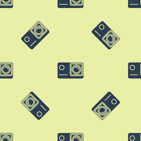 Blue Action extreme camera icon isolated seamless pattern on white background. Video camera equipment for filming extreme sports. Vector Illustration