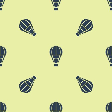 Blue Hot air balloon icon isolated seamless pattern on white background. Air transport for travel. Vector Illustration