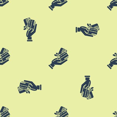 Blue Human hand holding with credit card icon isolated seamless pattern on white background. Online payment. Pay by card. Financial operations. Vector Illustration Illustration