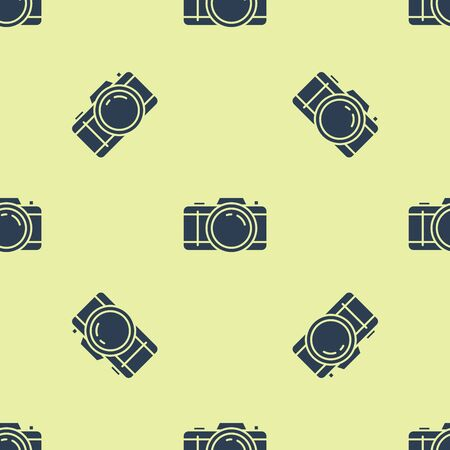 Blue Photo camera icon isolated seamless pattern on white background. Foto camera icon. Vector Illustration Illusztráció