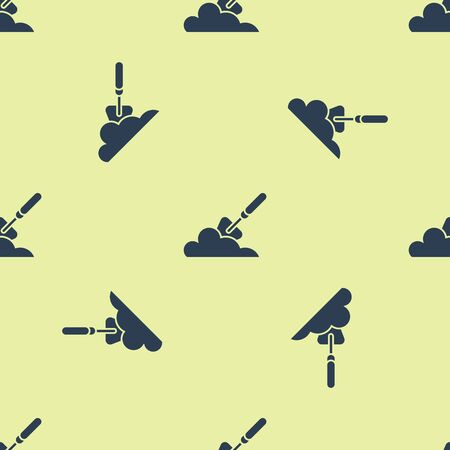 Blue Garden trowel spade or shovel in the ground icon isolated seamless pattern on white background. Gardening tool. Tool for horticulture, agriculture, farming. Vector Illustration