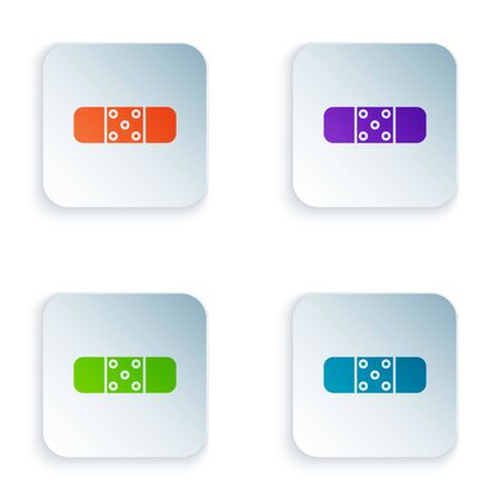 Color Bandage plaster icon isolated on white background. Medical plaster, adhesive bandage, flexible fabric bandage. Set icons in colorful square buttons. Vector Illustration Stock Illustratie