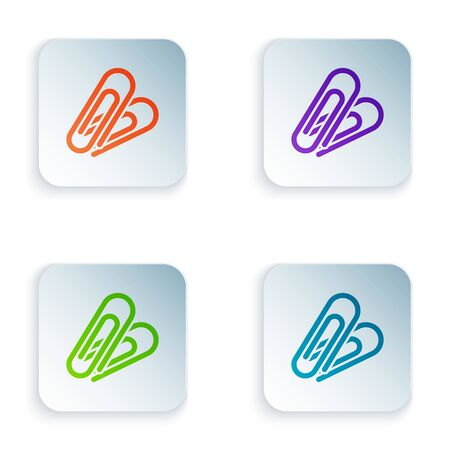 Color Paper clip icon isolated on white background. Set icons in colorful square buttons. Vector Illustration Illustration