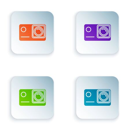 Color Action extreme camera icon isolated on white background. Video camera equipment for filming extreme sports. Set icons in colorful square buttons. Vector Illustration Иллюстрация