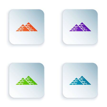 Color Egypt pyramids icon isolated on white background. Symbol of ancient Egypt. Set icons in colorful square buttons. Vector Illustration Çizim