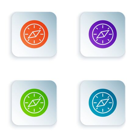 Color Compass icon isolated on white background. Windrose navigation symbol. Wind rose sign. Set icons in colorful square buttons. Vector Illustration