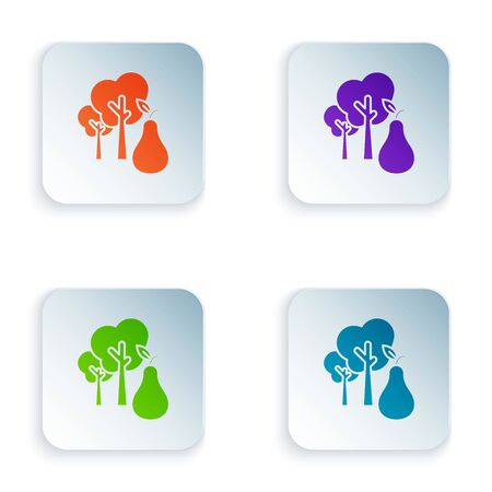 Color Tree with pears icon isolated on white background. Agricultural plant. Organic farm product. Gardening theme. Set icons in colorful square buttons. Vector Illustration
