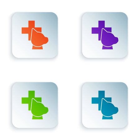 Color Veterinary clinic symbol icon isolated on white background. Cross with dog veterinary care. Pet First Aid sign. Set icons in colorful square buttons. Vector Illustration