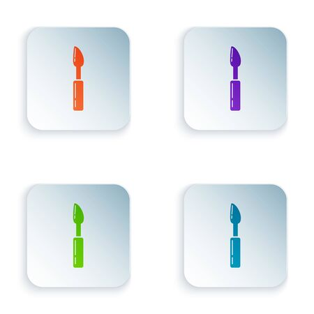 Color Cutter tool icon isolated on white background. Sewing knife with blade. Set icons in colorful square buttons. Vector Illustration