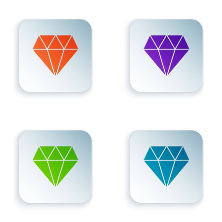 Color Diamond icon isolated on white background. Jewelry symbol. Gem stone. Set icons in colorful square buttons. Vector Illustration Illustration