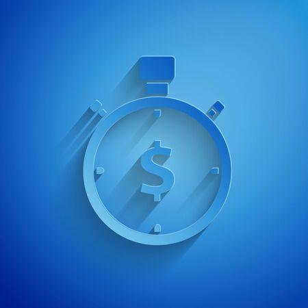 Paper cut Time is money icon isolated on blue background. Money is time. Effective time management. Convert time to money. Stopwatch sign. Paper art style. Vector Illustration Illustration