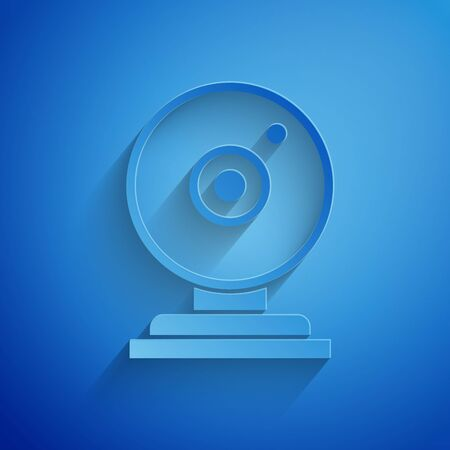 Paper cut Web camera icon isolated on blue background. Chat camera. Webcam icon. Paper art style. Vector Illustration