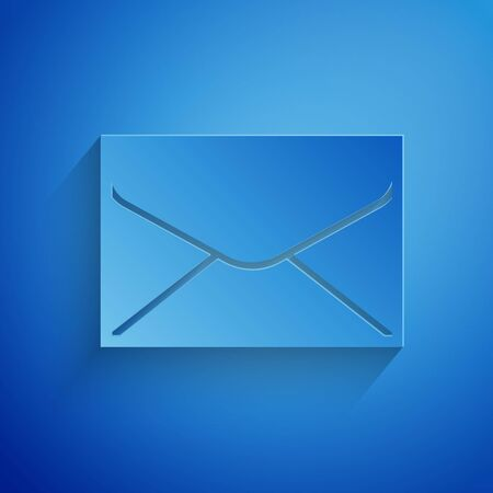 Paper cut Envelope icon isolated on blue background. Email message letter symbol. Paper art style. Vector Illustration  イラスト・ベクター素材