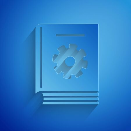 Paper cut User manual icon isolated on blue background. User guide book. Instruction sign. Read before use. Paper art style. Vector Illustration