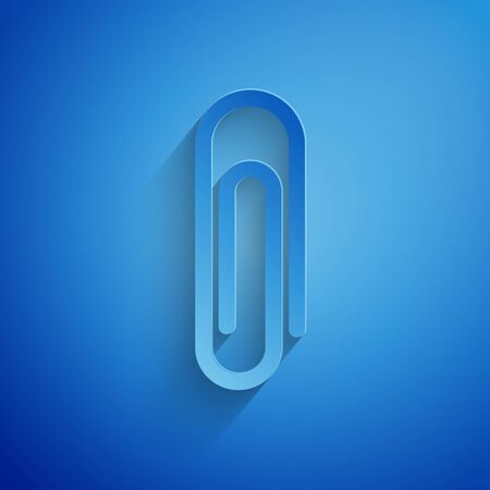 Paper cut Paper clip icon isolated on blue background. Paper art style. Vector Illustration
