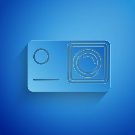 Paper cut Action extreme camera icon isolated on blue background. Video camera equipment for filming extreme sports. Paper art style. Vector Illustration