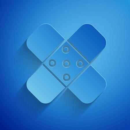 Paper cut Crossed bandage plaster icon isolated on blue background. Medical plaster, adhesive bandage, flexible fabric bandage. Paper art style. Vector Illustration Illustration