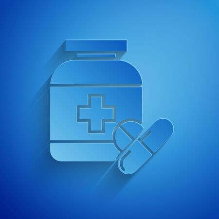 Paper cut Medicine bottle and pills icon isolated on blue background. Bottle pill sign. Pharmacy design. Paper art style. Vector Illustration Illustration