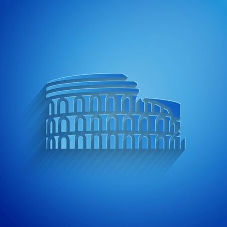 Paper cut Coliseum in Rome, Italy icon isolated on blue background. Colosseum sign. Symbol of Ancient Rome, gladiator fights. Paper art style. Vector Illustration