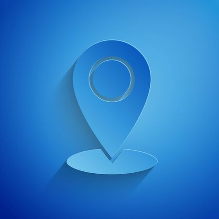 Paper cut Map pin icon isolated on blue background. Navigation, pointer, location, map, gps, direction, place, compass, contact, search concept. Paper art style. Vector Illustration