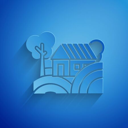 Paper cut Farm House concept icon isolated on blue background. Rustic farm landscape. Paper art style. Vector Illustration