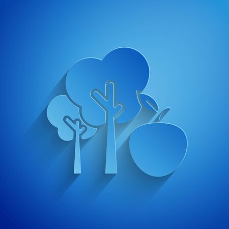 Paper cut Tree with apple icon isolated on blue background. Agricultural plant. Organic farm product. Gardening theme. Paper art style. Vector Illustration Stock Illustratie