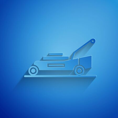 Paper cut Lawn mower icon isolated on blue background. Lawn mower cutting grass. Paper art style. Vector Illustration Stock Illustratie
