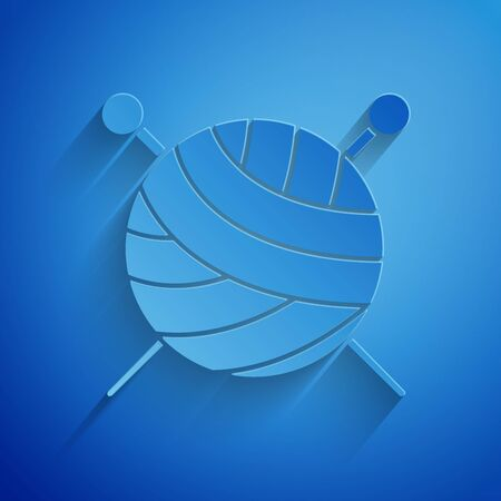 Paper cut Yarn ball with knitting needles icon isolated on blue background. Label for hand made, knitting or tailor shop. Paper art style. Vector Illustration