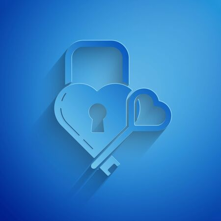 Paper cut Castle in the shape of a heart and key icon isolated on blue background. Locked Heart. Love symbol and keyhole sign. Paper art style. Vector Illustration