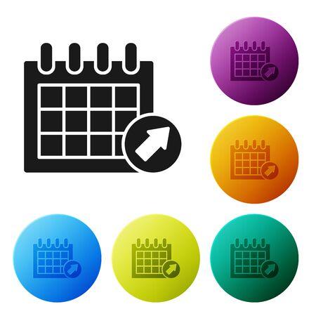 Schwarzes Kalendersymbol isoliert auf weißem Hintergrund. Ereignis-Erinnerungssymbol. Stellen Sie Ikonen bunte Kreisknöpfe ein. Vektorillustration