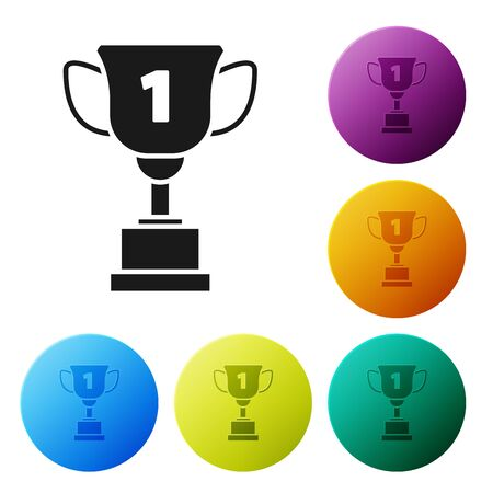 Black Award cup icon isolated on white background. Winner trophy symbol. Championship or competition trophy. Sports achievement sign. Set icons colorful circle buttons. Vector Illustration