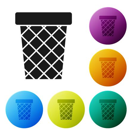 Black Trash can icon isolated on white background. Garbage bin sign. Recycle basket icon. Office trash icon. Set icons colorful circle buttons. Vector Illustration