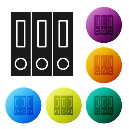 Black Office folders with papers and documents icon isolated on white background. Office binders. Archives folder sign. Set icons colorful circle buttons. Vector Illustration