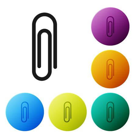 Black Paper clip icon isolated on white background. Set icons colorful circle buttons. Vector Illustration