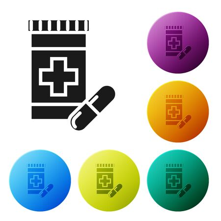 Black Medicine bottle and pills icon isolated on white background. Bottle pill sign. Pharmacy design. Set icons colorful circle buttons. Vector Illustration