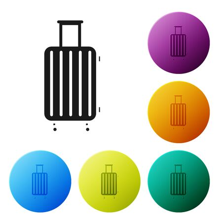 Black Suitcase for travel icon isolated on white background. Traveling baggage sign. Travel luggage icon. Set icons colorful circle buttons. Vector Illustration