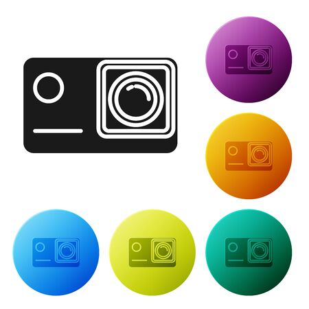Black Action extreme camera icon isolated on white background. Video camera equipment for filming extreme sports. Set icons colorful circle buttons. Vector Illustration