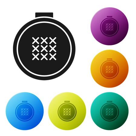 Black Round adjustable embroidery hoop icon isolated on white background. Thread and needle for embroidery. Set icons colorful circle buttons. Vector Illustration Ilustracja