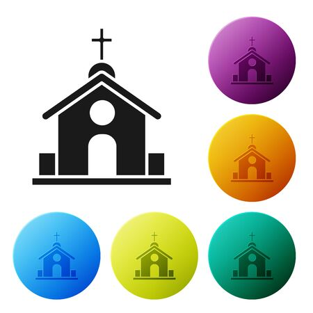 Black Church building icon isolated on white background. Christian Church. Religion of church. Set icons colorful circle buttons. Vector Illustration