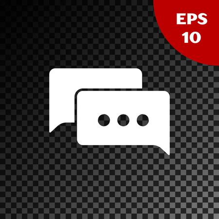 White Speech bubble chat icon isolated on transparent dark background. Message icon. Communication or comment chat symbol. Vector Illustration