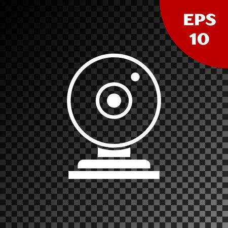 White Web camera icon isolated on transparent dark background. Chat camera. Webcam icon. Vector Illustration