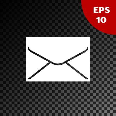 White Envelope icon isolated on transparent dark background. Email message letter symbol. Vector Illustration Illustration
