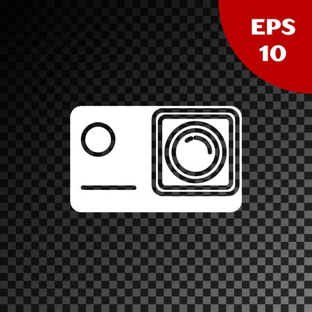 White Action extreme camera icon isolated on transparent dark background. Video camera equipment for filming extreme sports. Vector Illustration Иллюстрация
