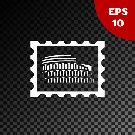 White Postal stamp and Coliseum icon isolated on transparent dark background. Colosseum sign. Symbol of Ancient Rome, gladiator fights. Vector Illustration